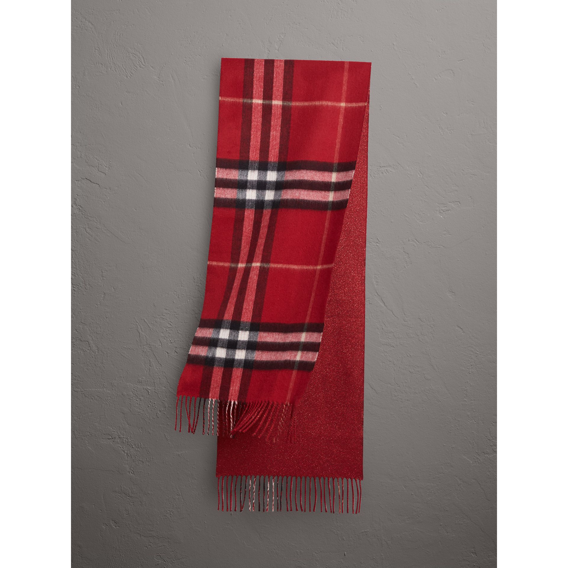 Reversible Metallic Check Cashmere Scarf in Parade Red | Burberry - gallery image 1