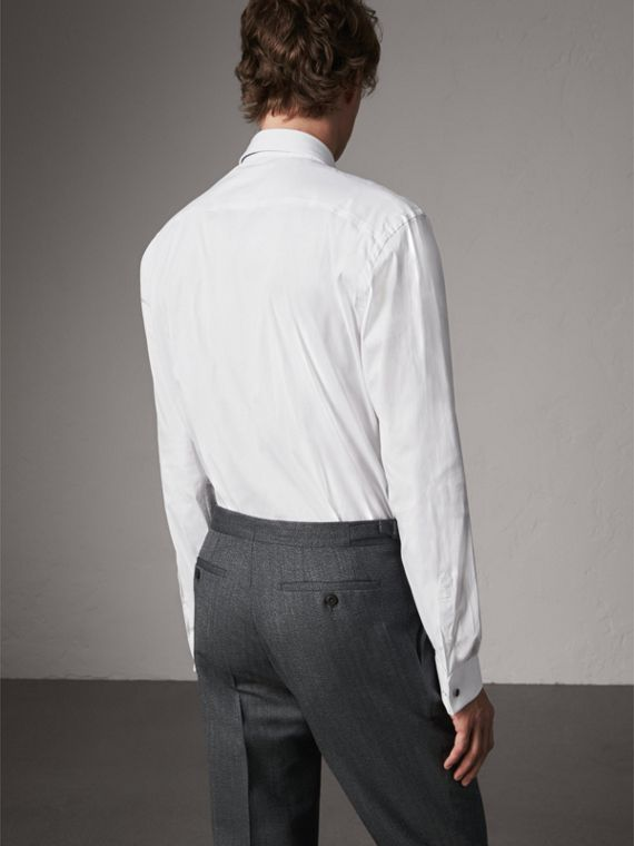 Modern Fit Double-cuff Stretch-cotton Shirt in White - Men | Burberry United Kingdom - cell image 2