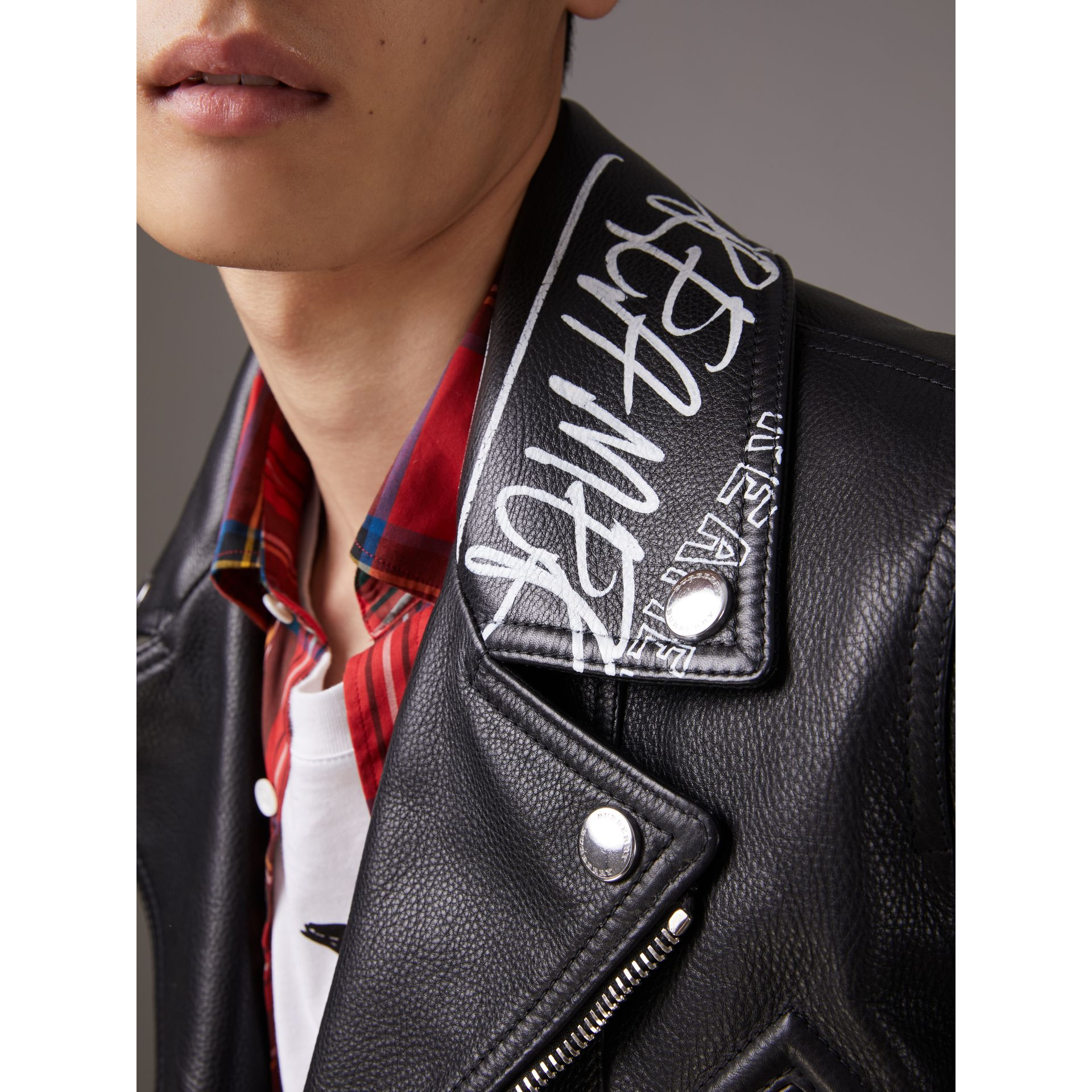 Burberry x Kris Wu Leather Biker Jacket in Black - Men | Burberry - gallery image 1