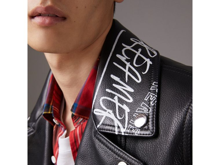 Burberry x Kris Wu Leather Biker Jacket in Black - Men | Burberry - cell image 1