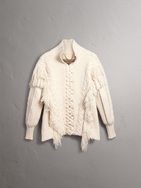 Fringed Cable Knit Cotton Blend Oversized Sweater in Natural White - Women | Burberry - cell image 3