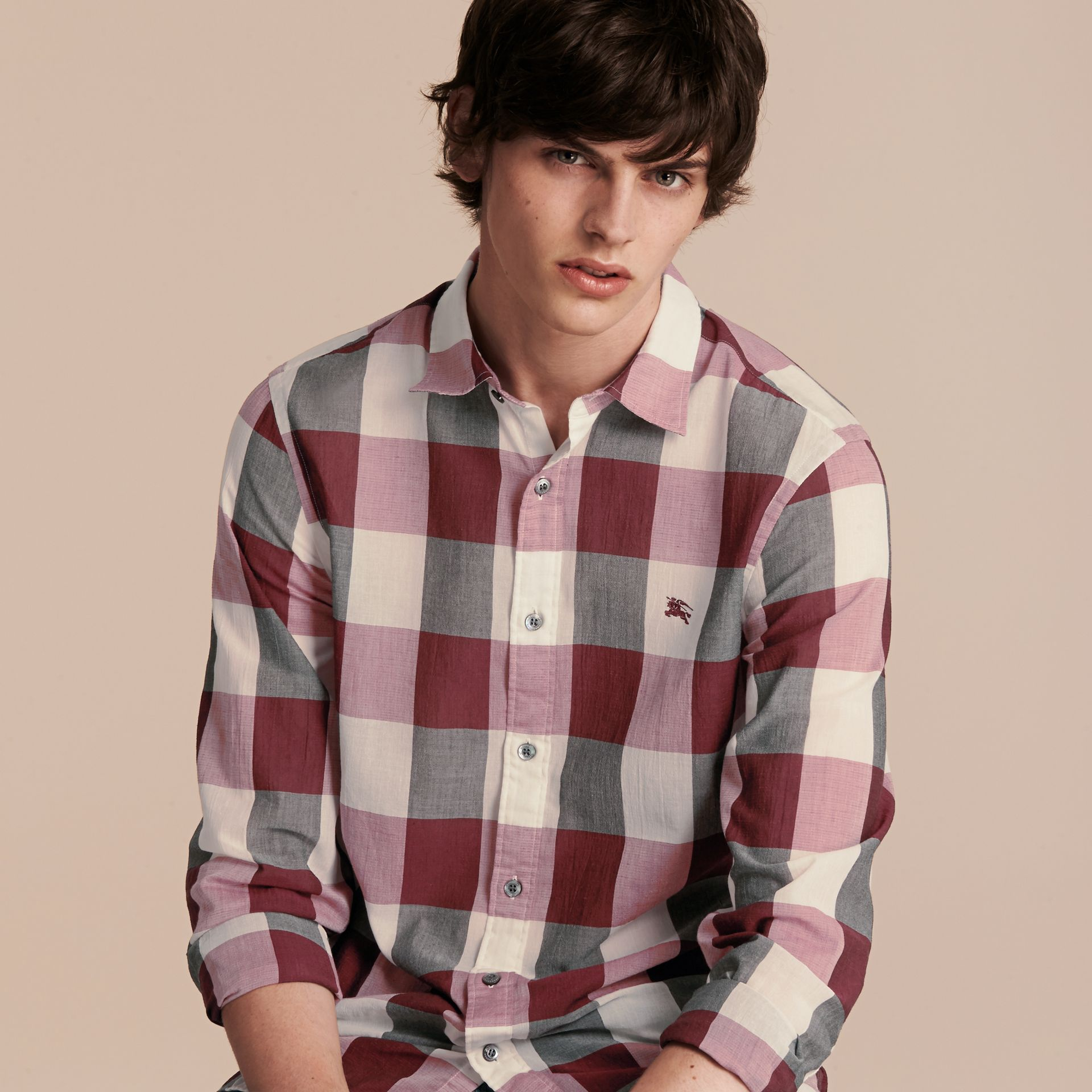 Oversize Gingham Cotton Linen Shirt Plum Pink - gallery image 6