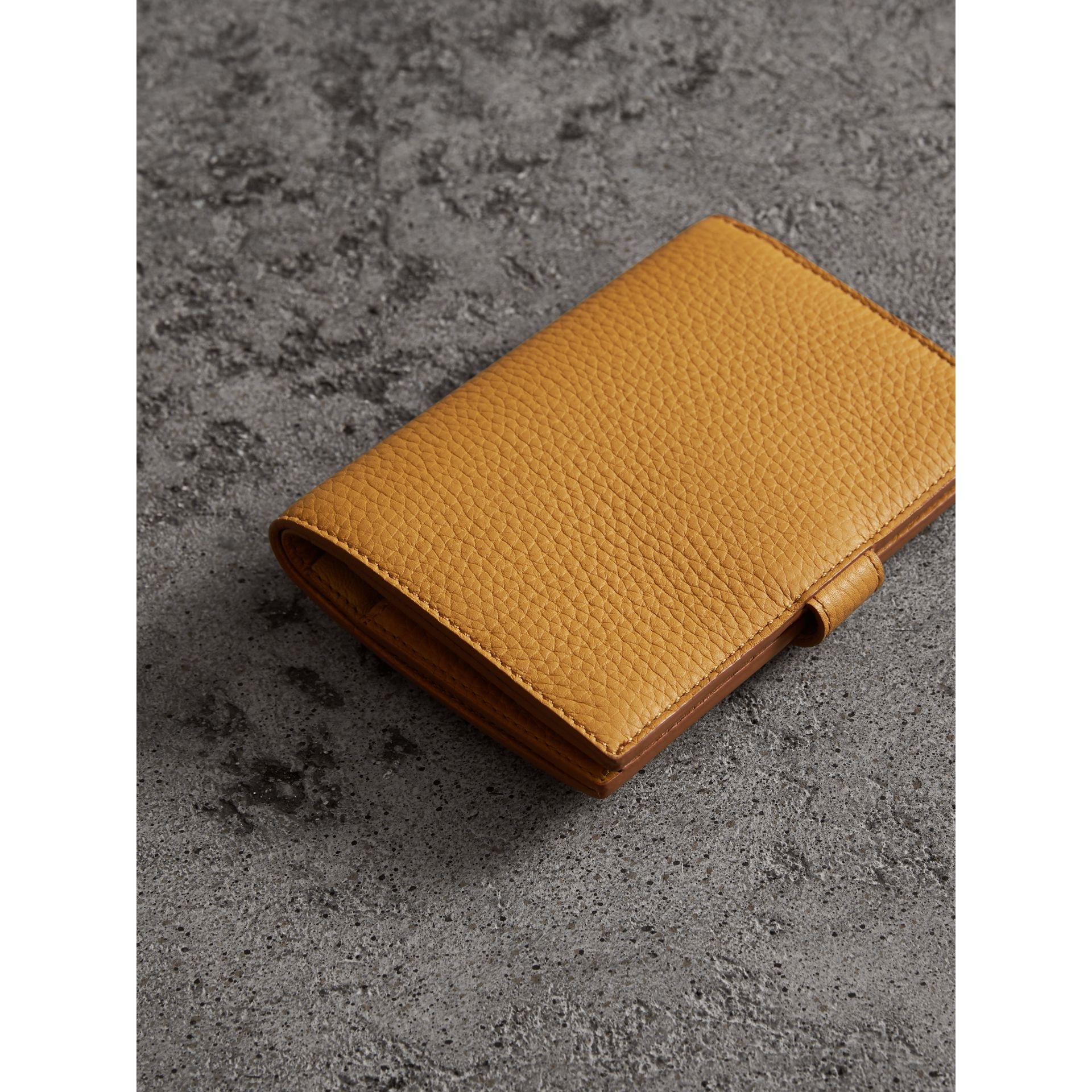 Embossed Grainy Leather Folding Wallet in Ochre Yellow - Women | Burberry - gallery image 2