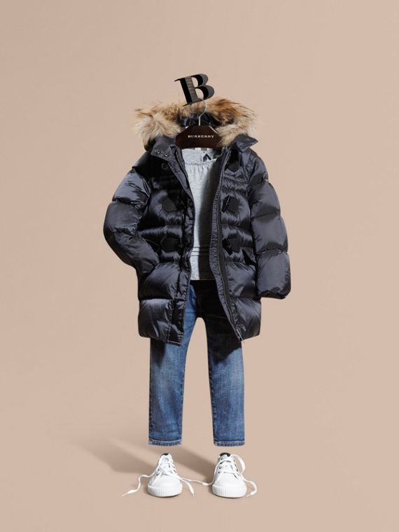 Down-filled Hooded Coat with Detachable Raccoon Fur Trim