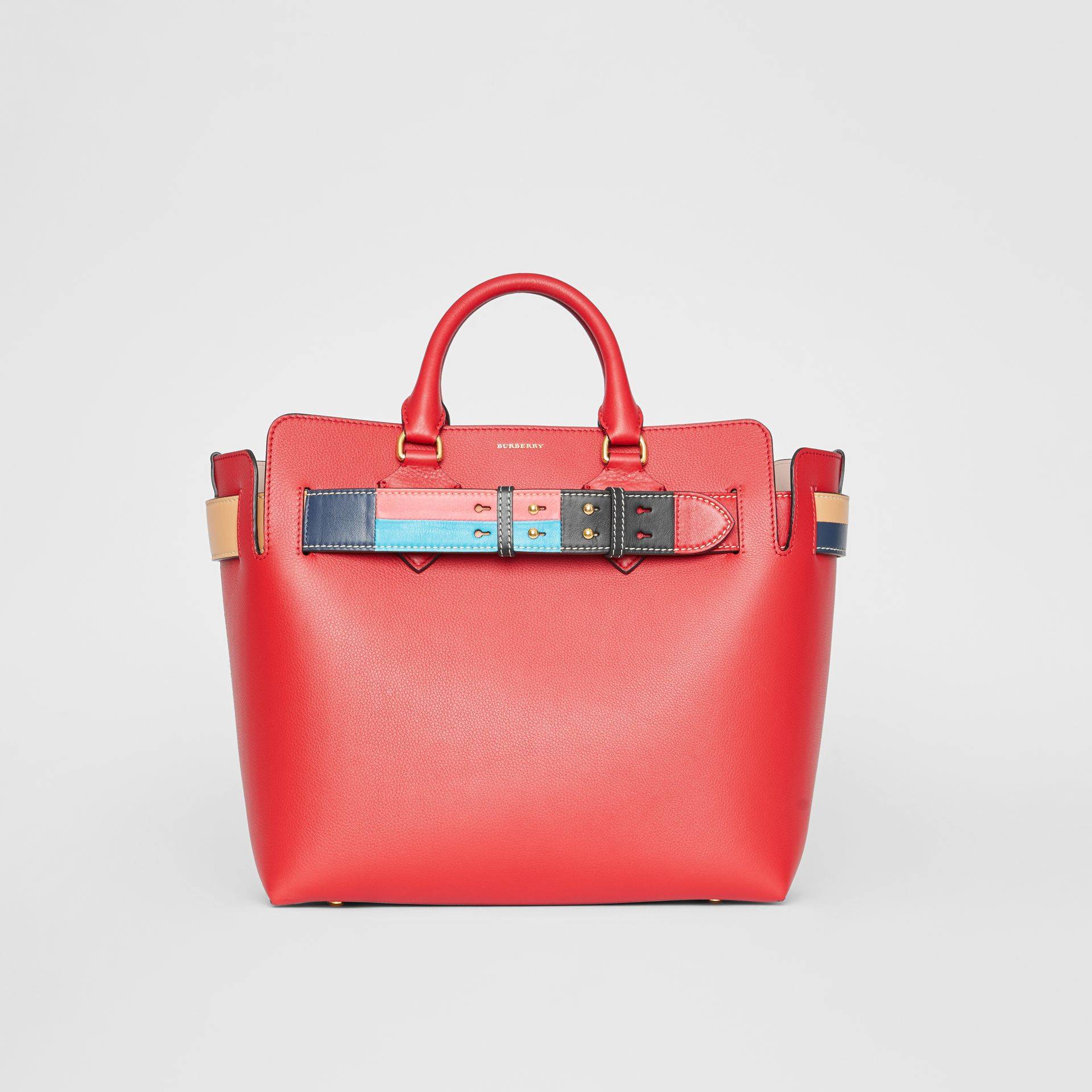 The Medium Leather Colour Block Detail Belt Bag in Bright Crimson Pink - Women | Burberry - gallery image 0