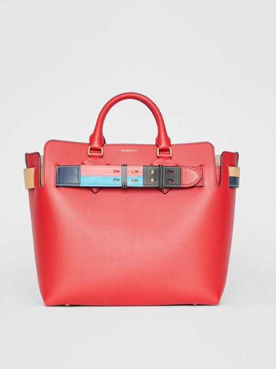 The Medium Leather Colour Block Detail Belt Bag in Bright Crimson Pink