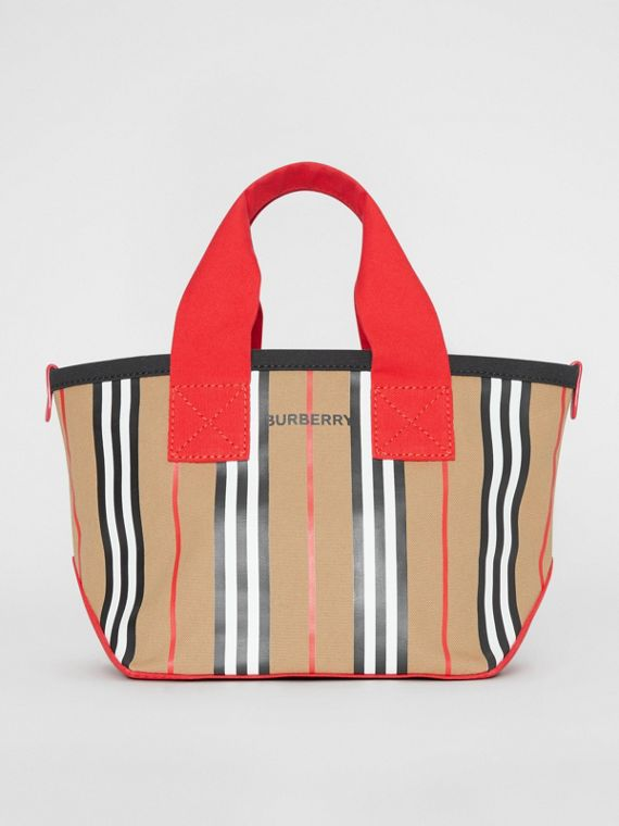 Icon Stripe Cotton Tote Bag in Honey