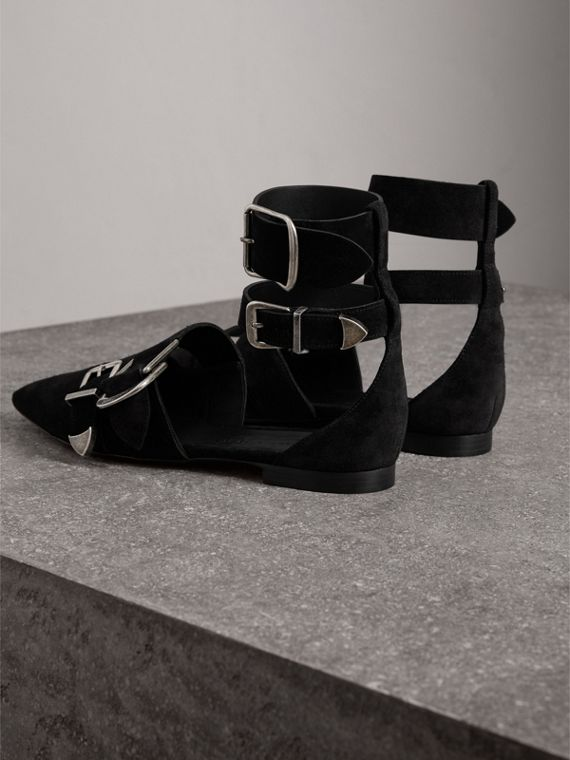 Buckle Detail Suede Point-toe Flats in Black - Women | Burberry - cell image 3