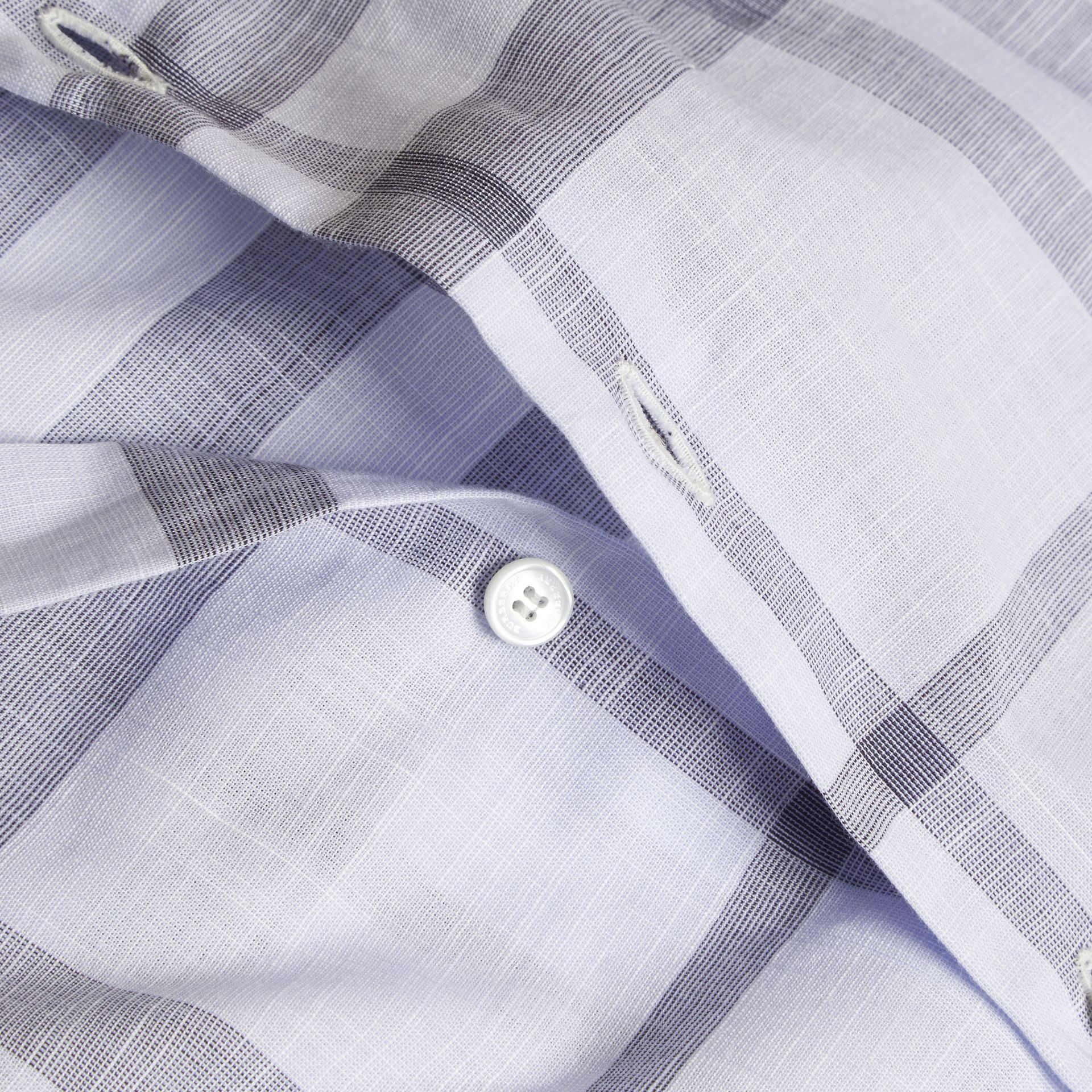 Check Cotton Chambray Shirt Mineral Blue - gallery image 2