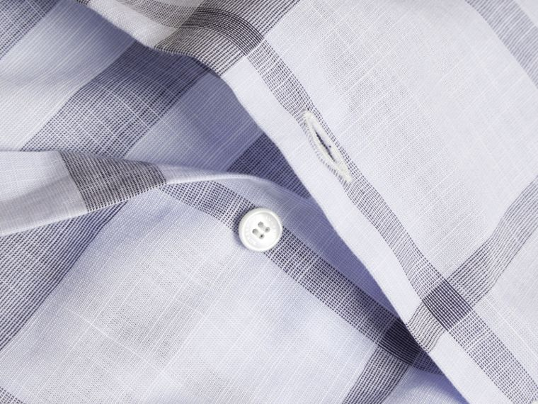 Mineral blue Check Cotton Chambray Shirt Mineral Blue - cell image 1