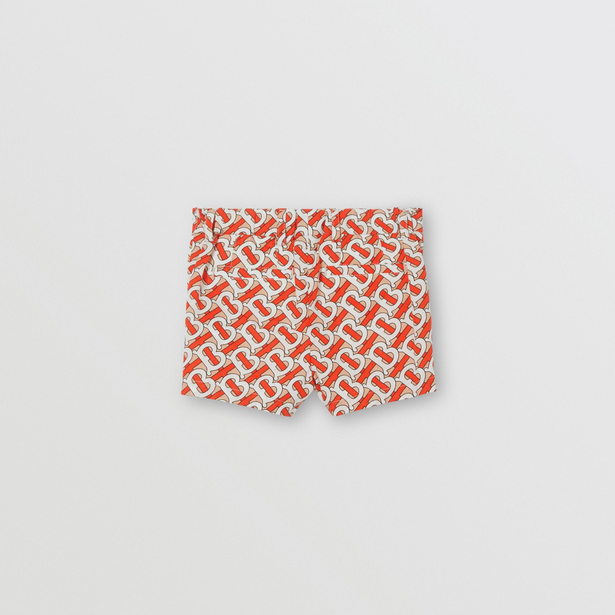 Pantalones Cortos En Popelina De Algodon Con Estampado De Monogramas Rojo Bermellon Ninos Burberry