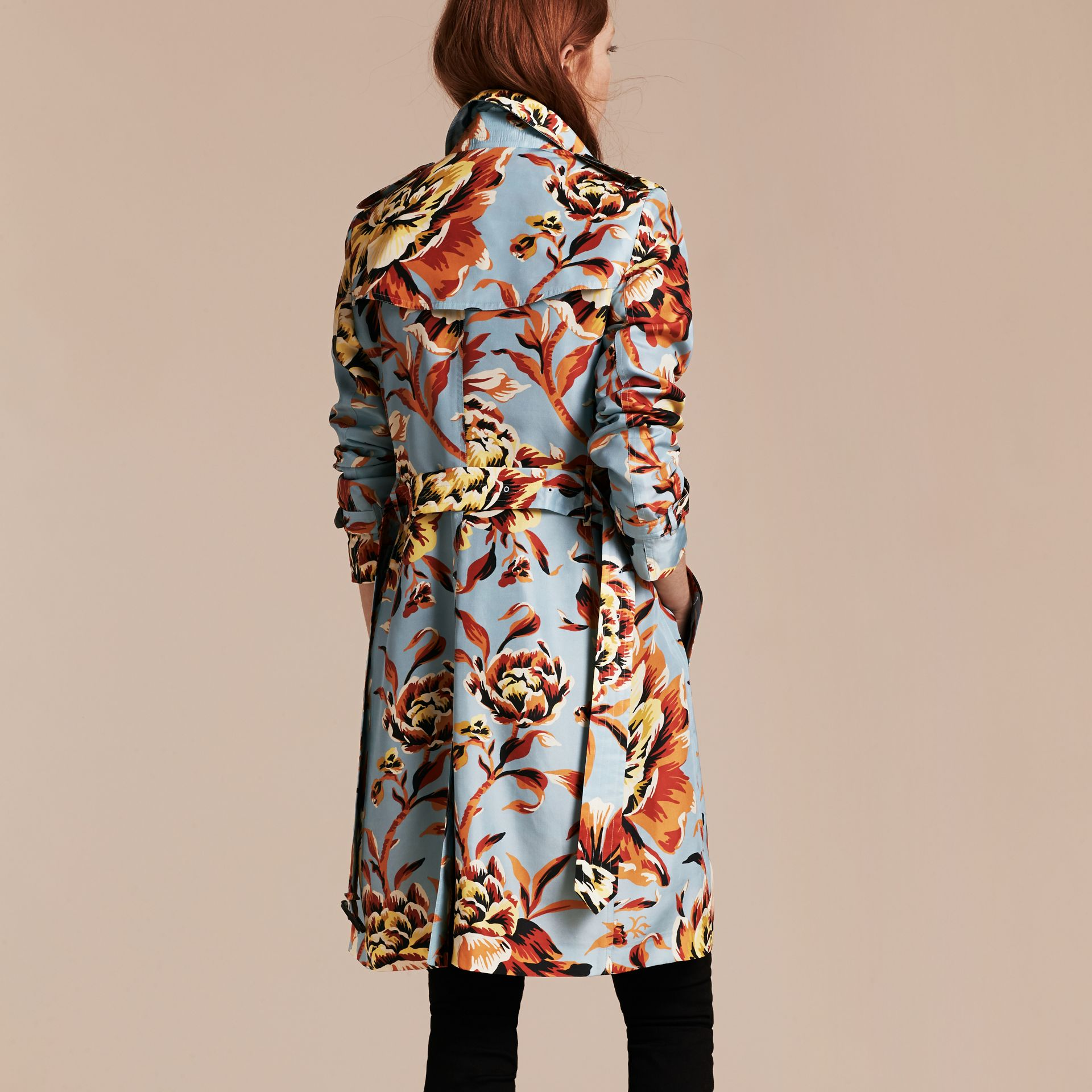 Vibrant orange Peony Rose Print Silk Trench Coat - gallery image 3