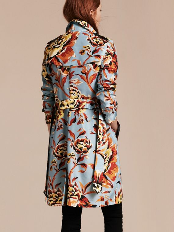 Vibrant orange Peony Rose Print Silk Trench Coat - cell image 2