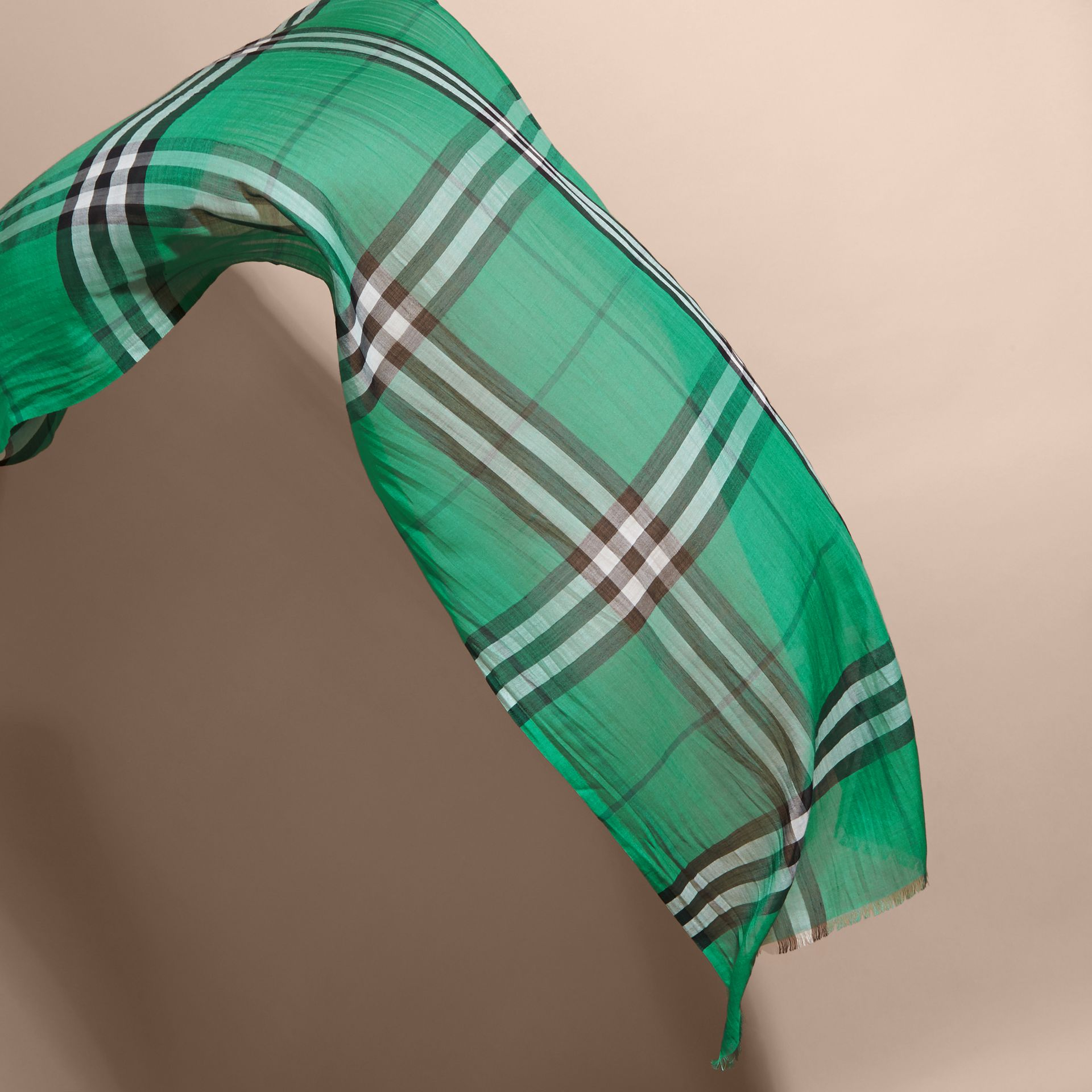 Lightweight Check Wool and Silk Scarf in Emerald - gallery image 4