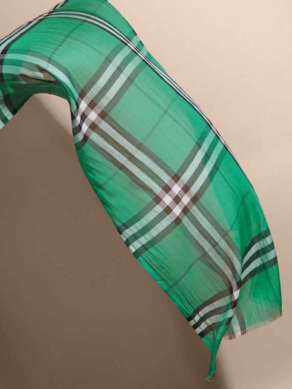 Lightweight Check Wool and Silk Scarf in Emerald - cell image 3
