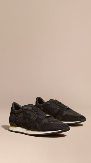 The Field Sneaker in Suede and Camouflage Mesh