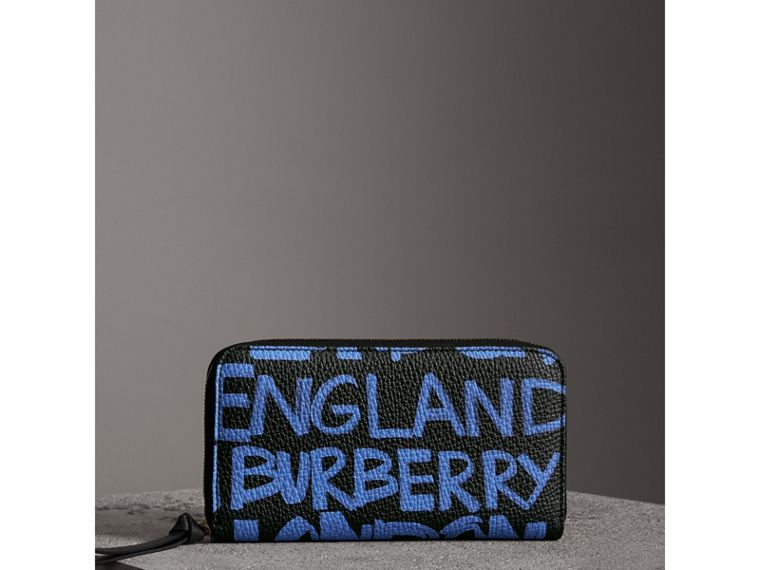 Graffiti Print Leather Ziparound Wallet in Blue Black - Women | Burberry - cell image 4