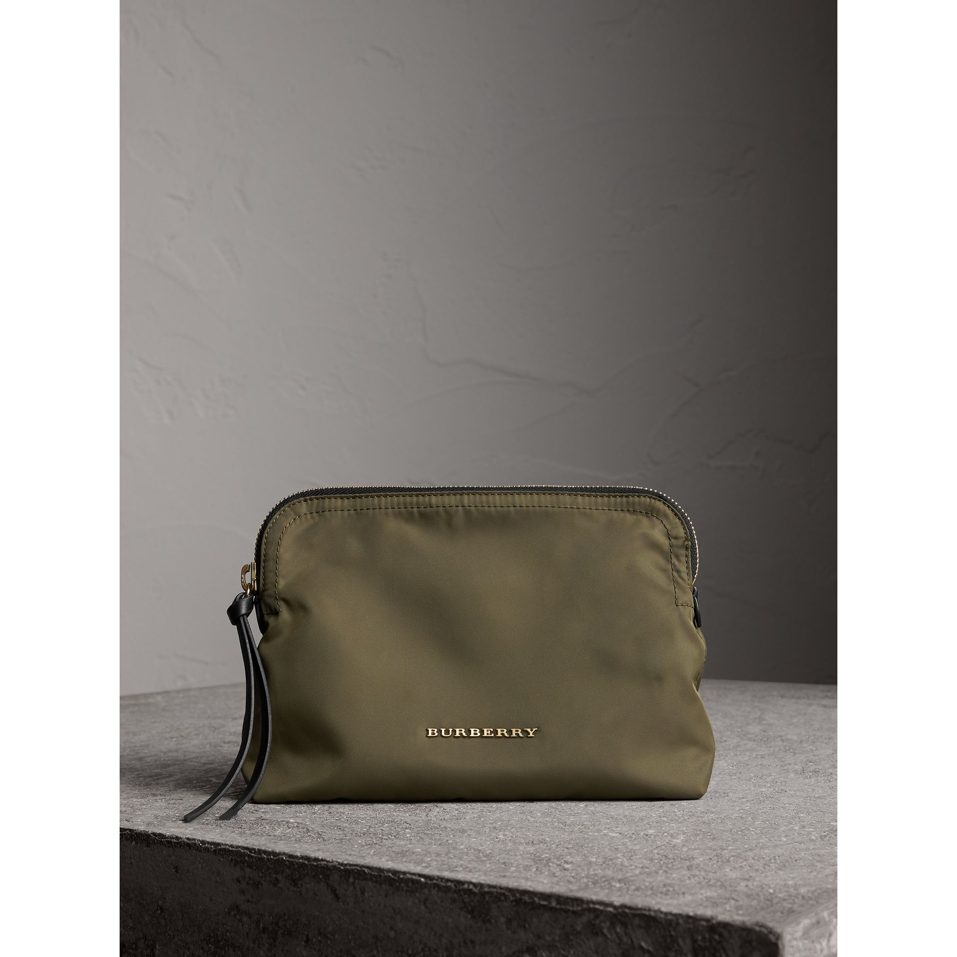 Large Zip-top Technical Nylon Pouch in Canvas Green - Women | Burberry - gallery image 0