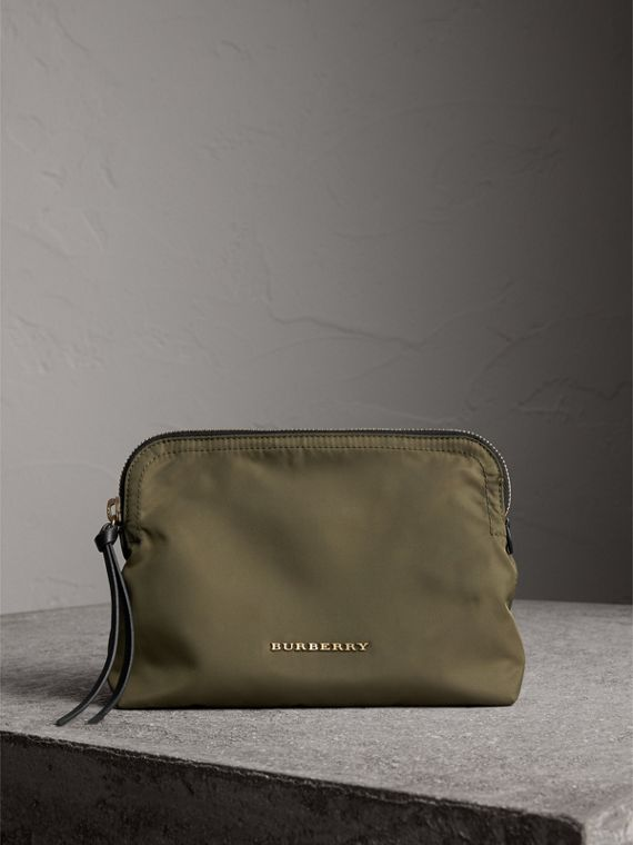 Large Zip-top Technical Nylon Pouch in Canvas Green