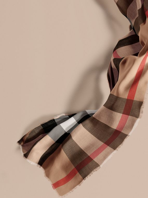Extra-long Lightweight Cashmere Check Scarf in Camel