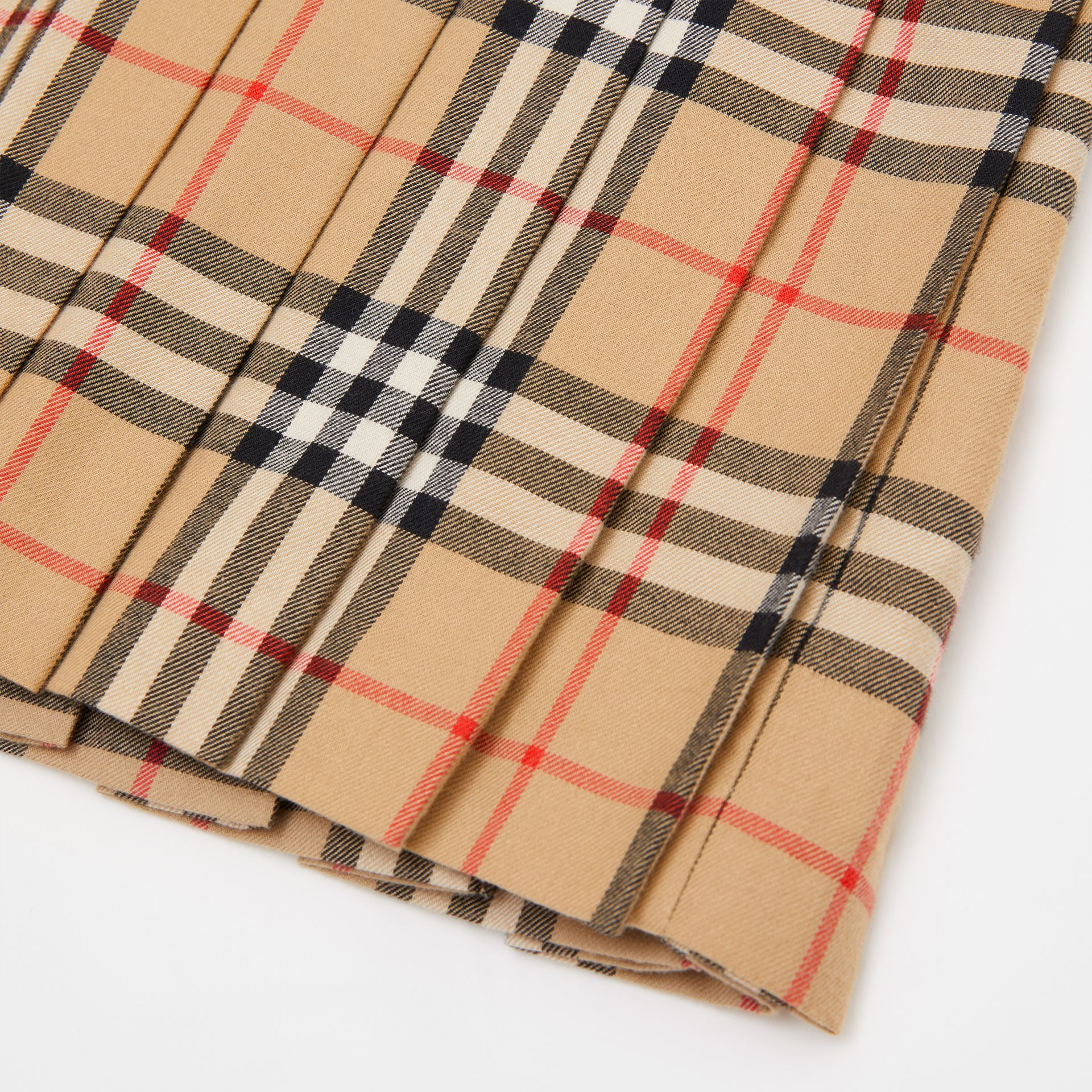 Lambskin Detail Vintage Check Wool Kilt in Archive Beige | Burberry - gallery image 1