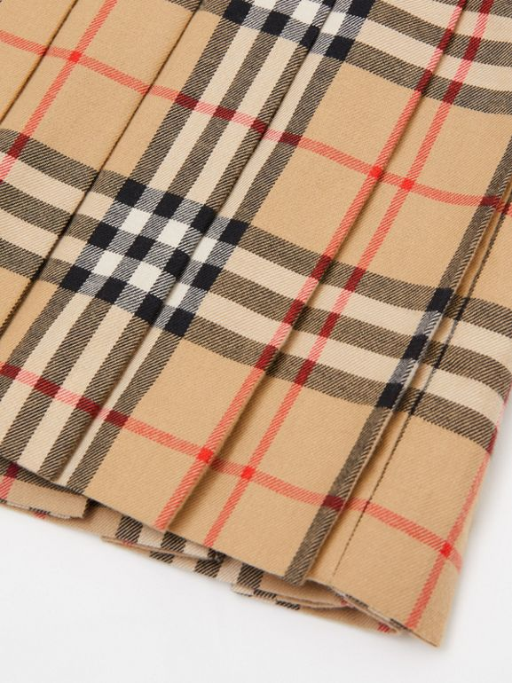 Lambskin Detail Vintage Check Wool Kilt in Archive Beige | Burberry - cell image 1