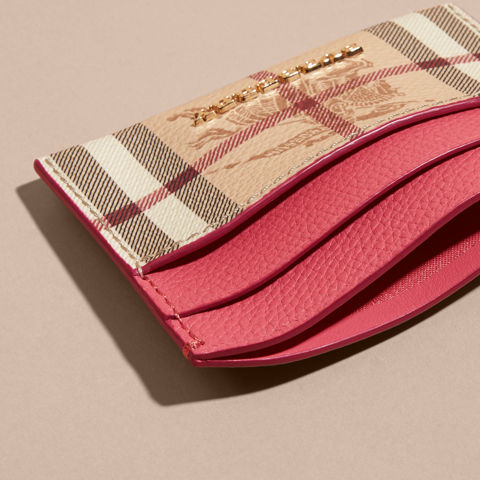 Haymarket Check and Leather Card Case in Plum Pink - Women | Burberry - gallery image 5