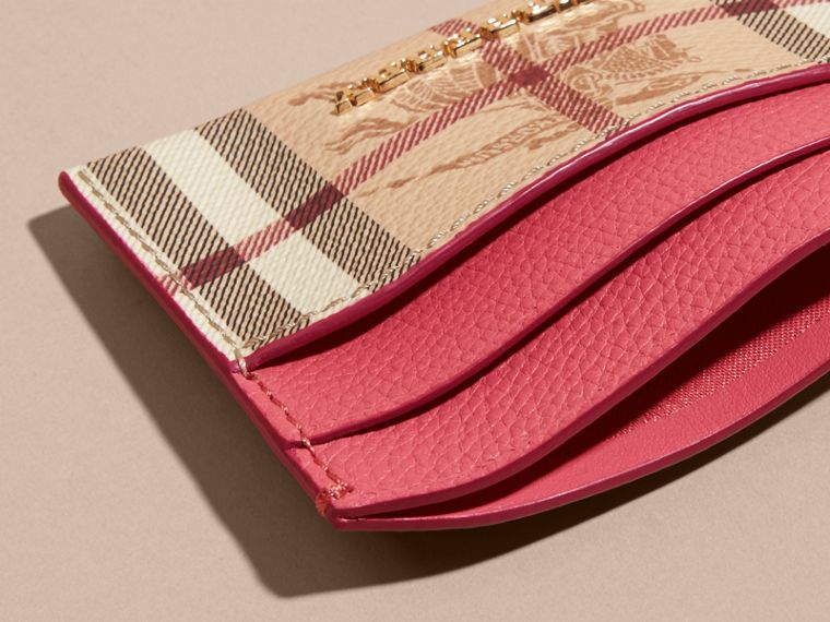 Haymarket Check and Leather Card Case in Plum Pink - Women | Burberry - cell image 4