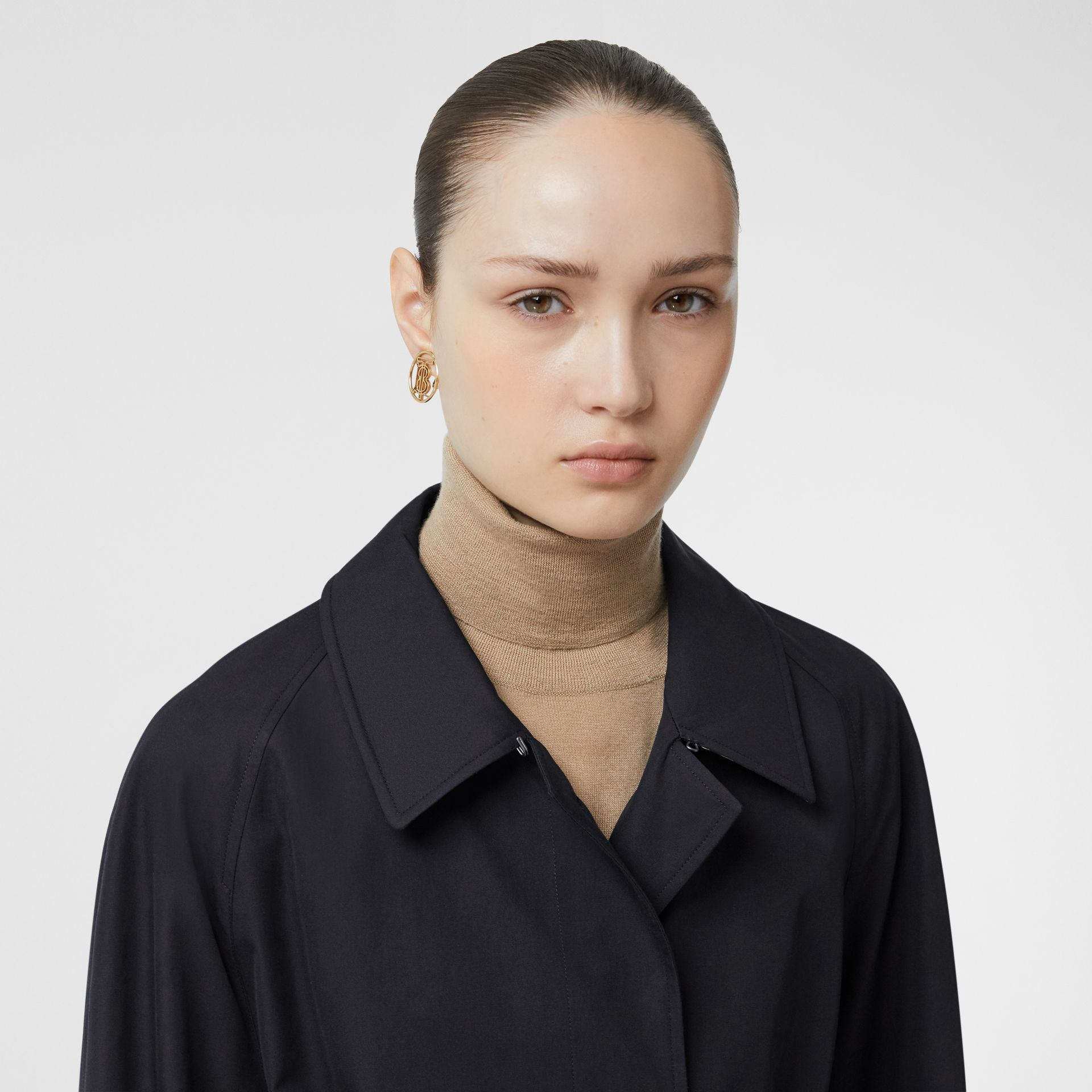 Tropical Gabardine Belted Car Coat in Midnight - Women   Burberry - gallery image 1