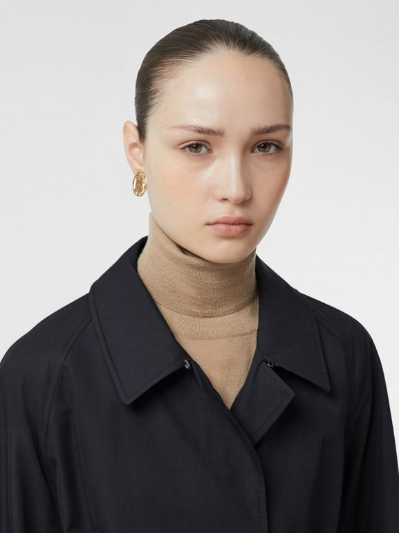 Tropical Gabardine Belted Car Coat in Midnight - Women   Burberry - cell image 1
