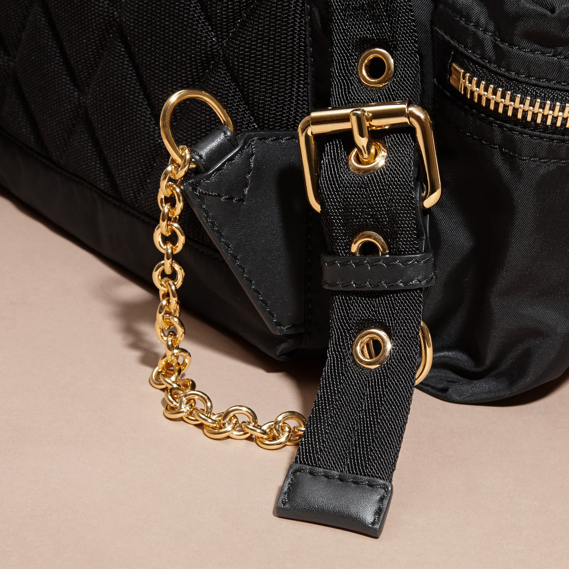 Black/gold The Large Rucksack in Two-tone Nylon and Leather - gallery image 7
