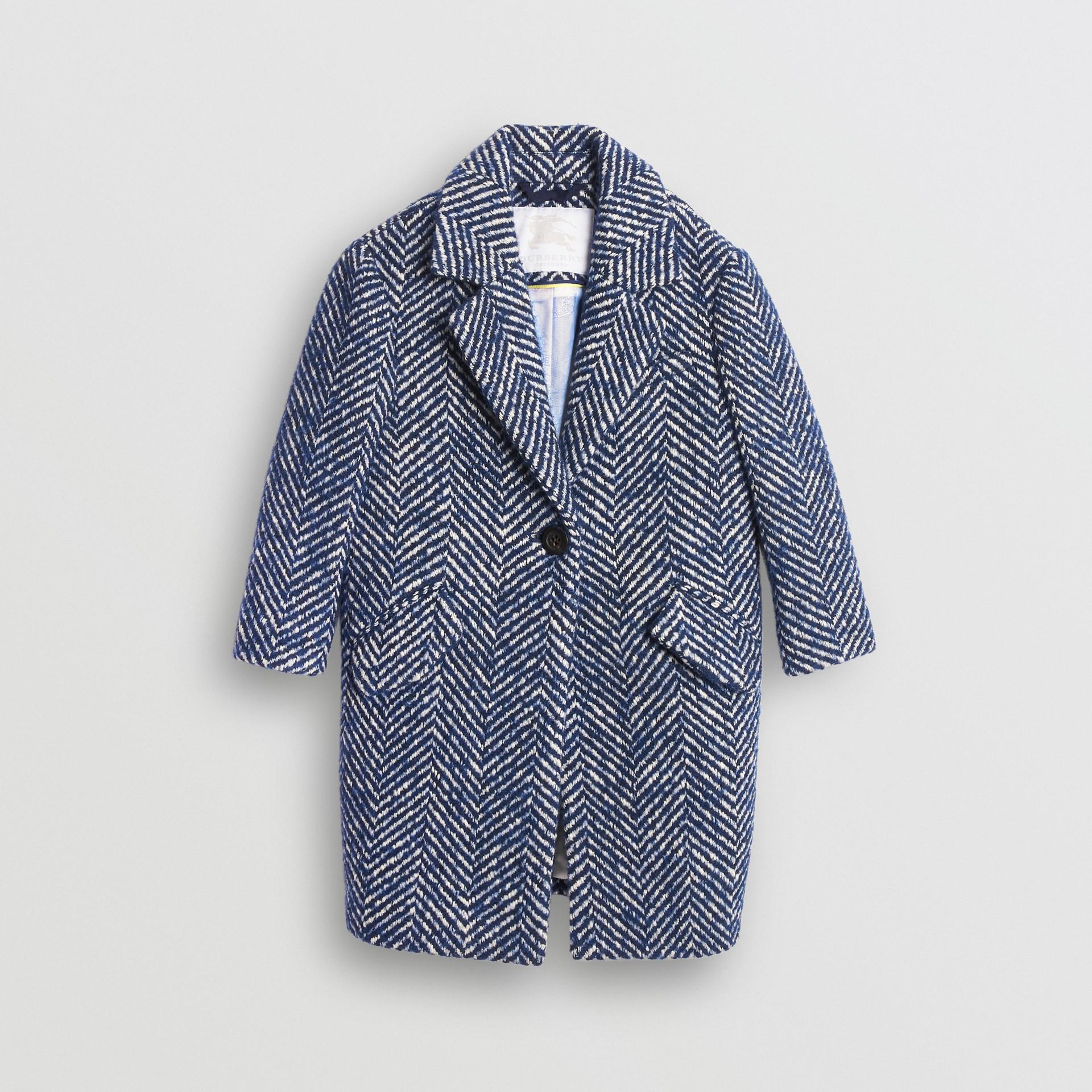 Herringbone Wool Cotton Blend Tailored Coat in Navy - Children | Burberry - gallery image 0