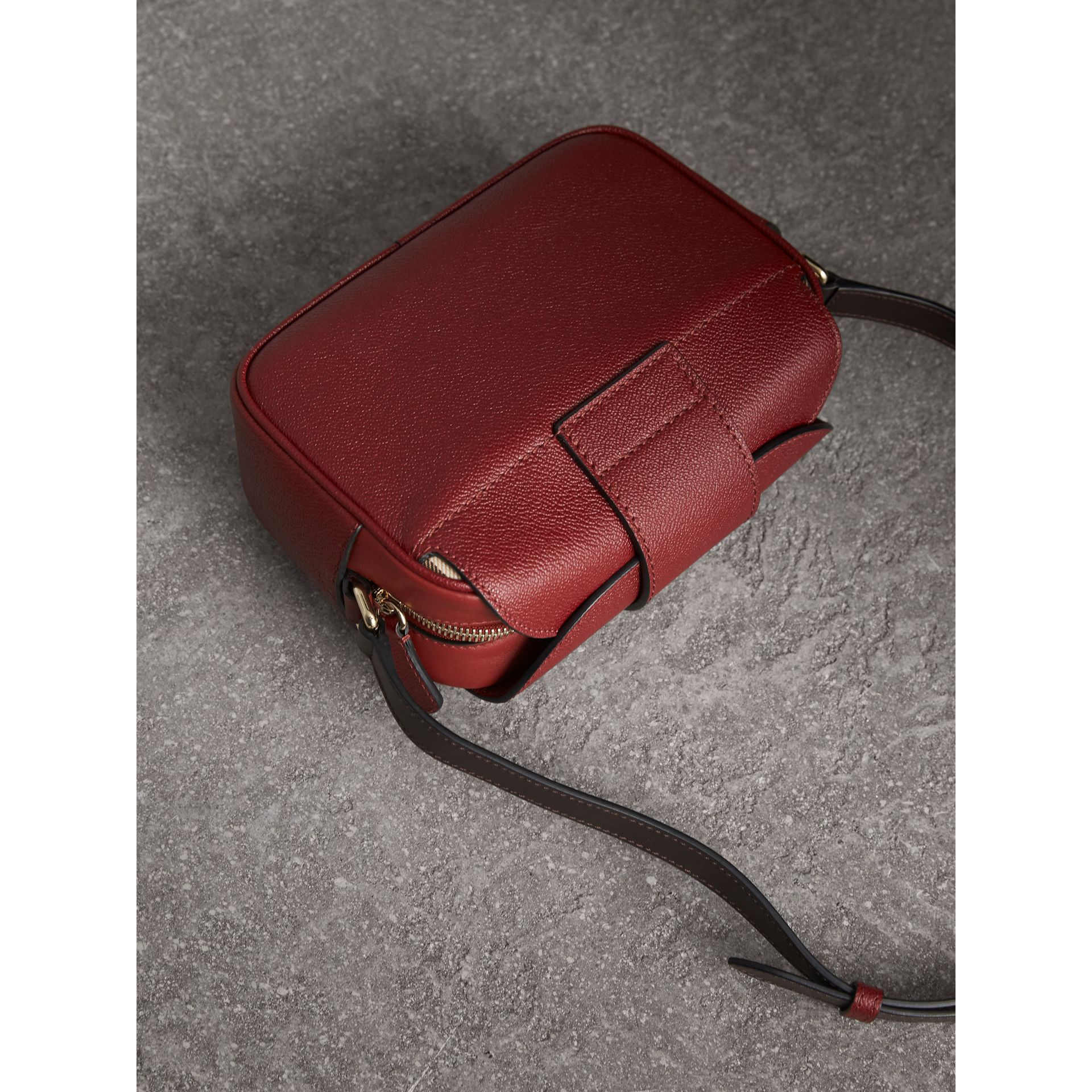 fe5ddd65933b The Small Buckle Crossbody Bag in Two-tone Leather in Antique Red ...
