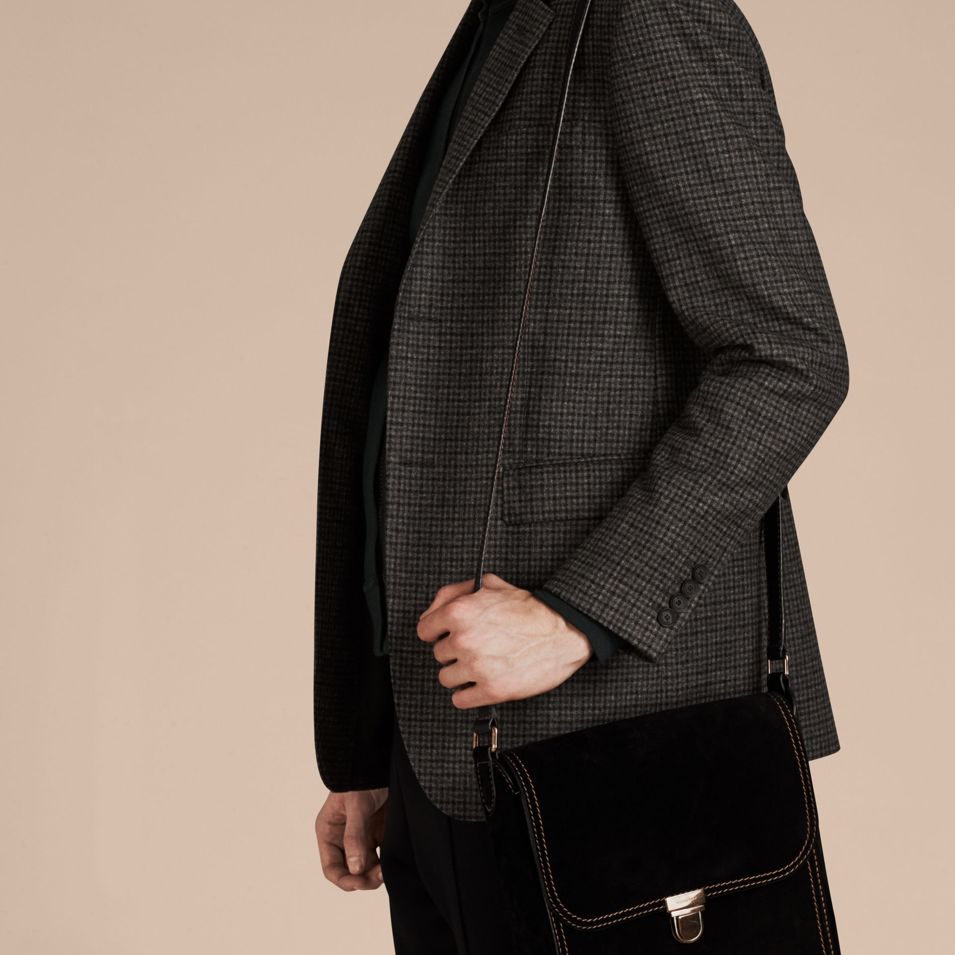 Charcoal/black Slim Fit Check Wool Tailored Jacket - gallery image 4