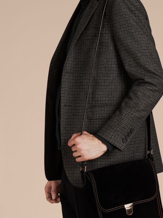Charcoal/black Slim Fit Check Wool Tailored Jacket - cell image 3