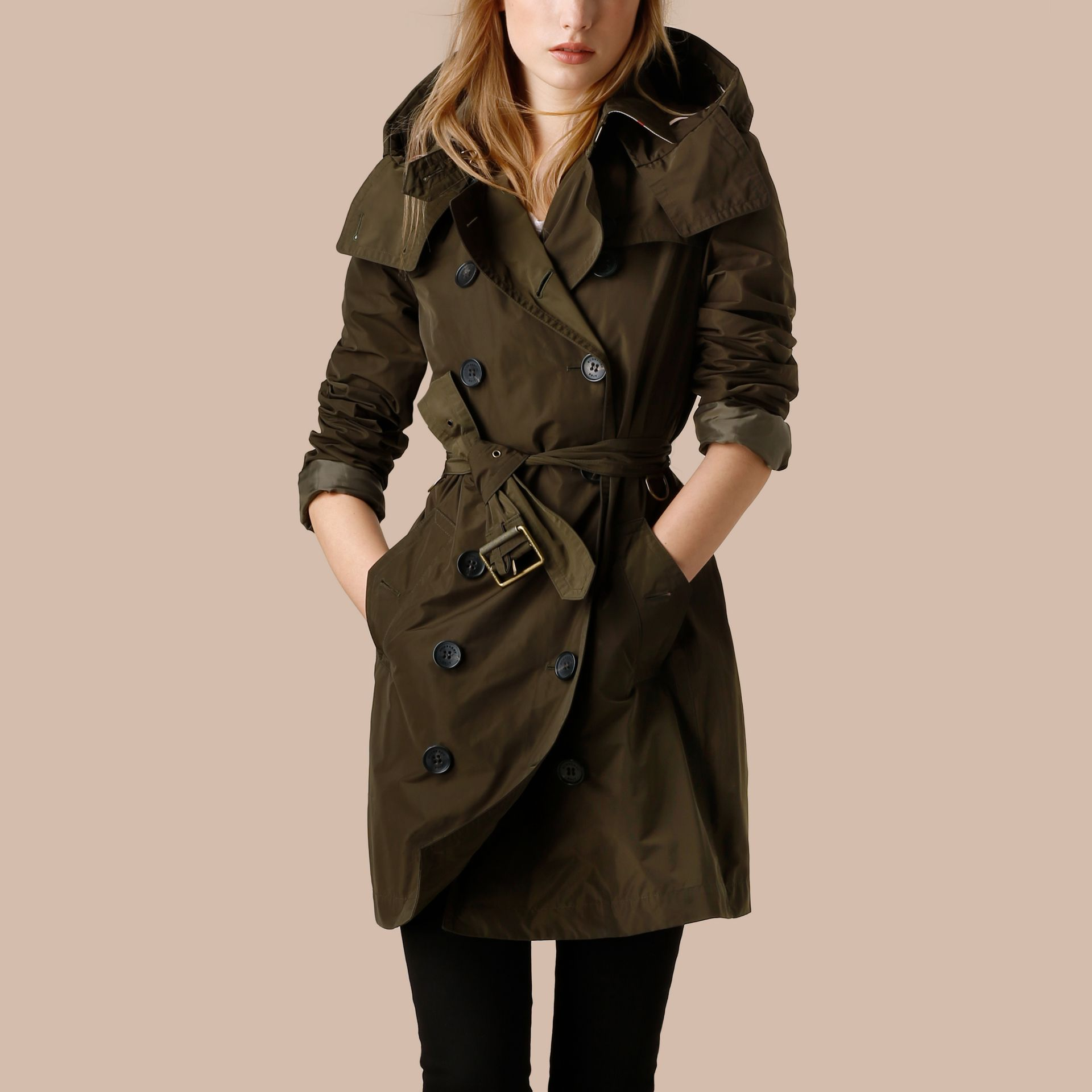 Dark olive Taffeta Trench Coat with Detachable Hood Dark Olive - immagine della galleria 4