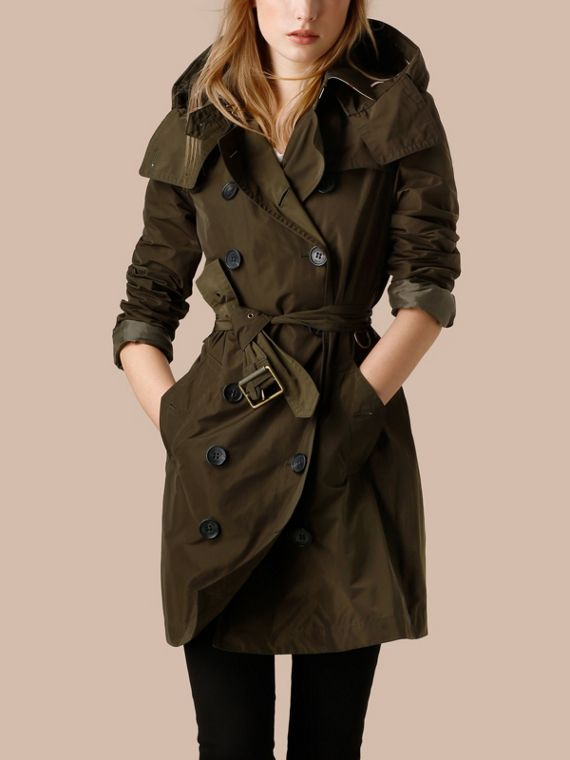 Dark olive Taffeta Trench Coat with Detachable Hood Dark Olive - cell image 3