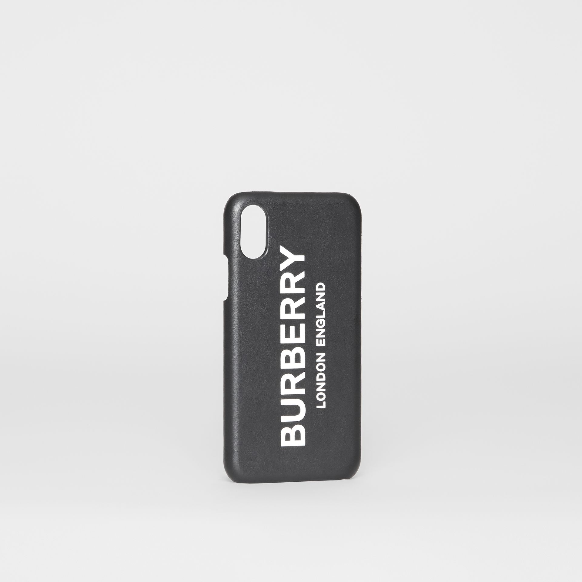 Logo Print Leather iPhone X/XS Case in Black | Burberry - gallery image 3