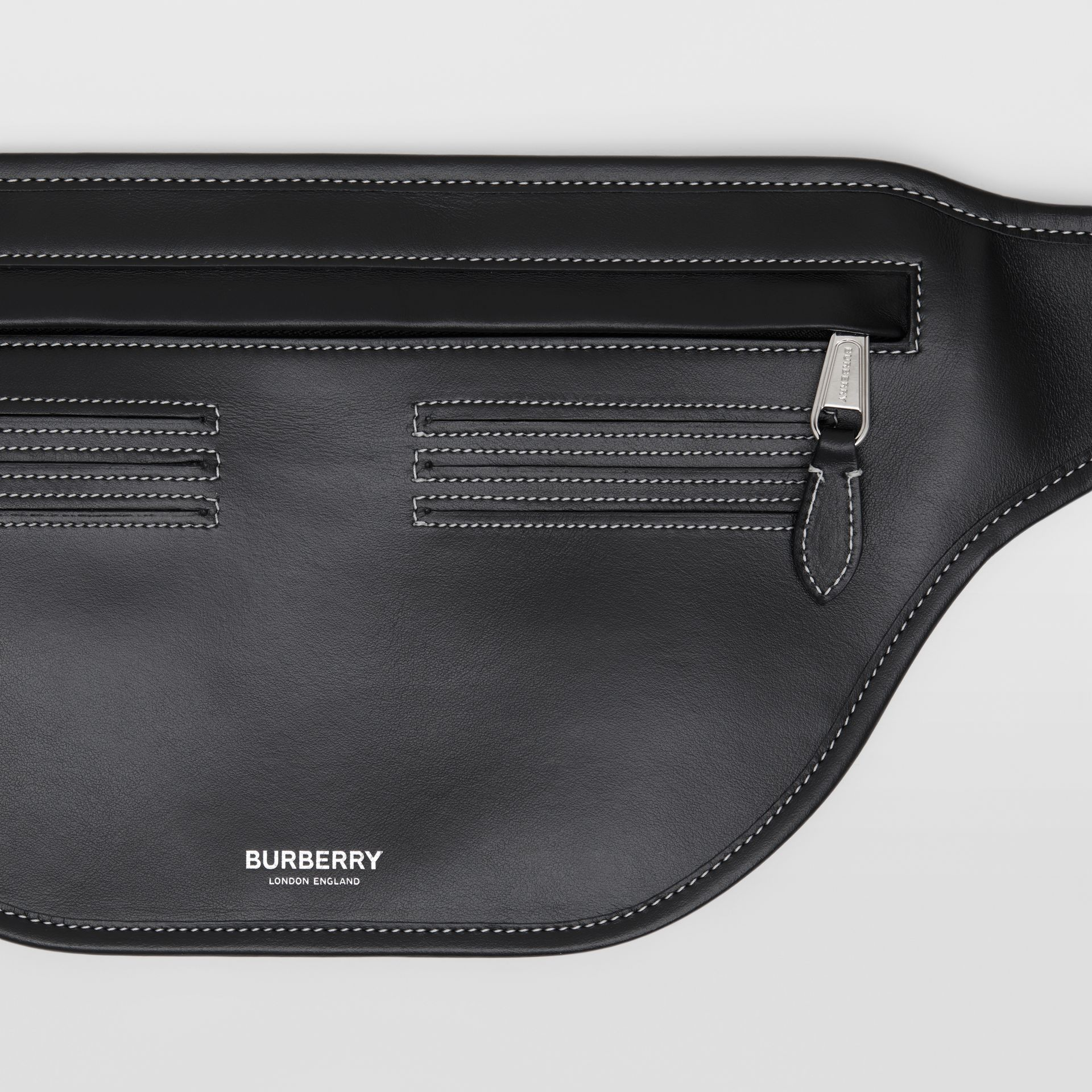 Topstitched Leather Brummell Bum Bag in Black | Burberry - gallery image 1