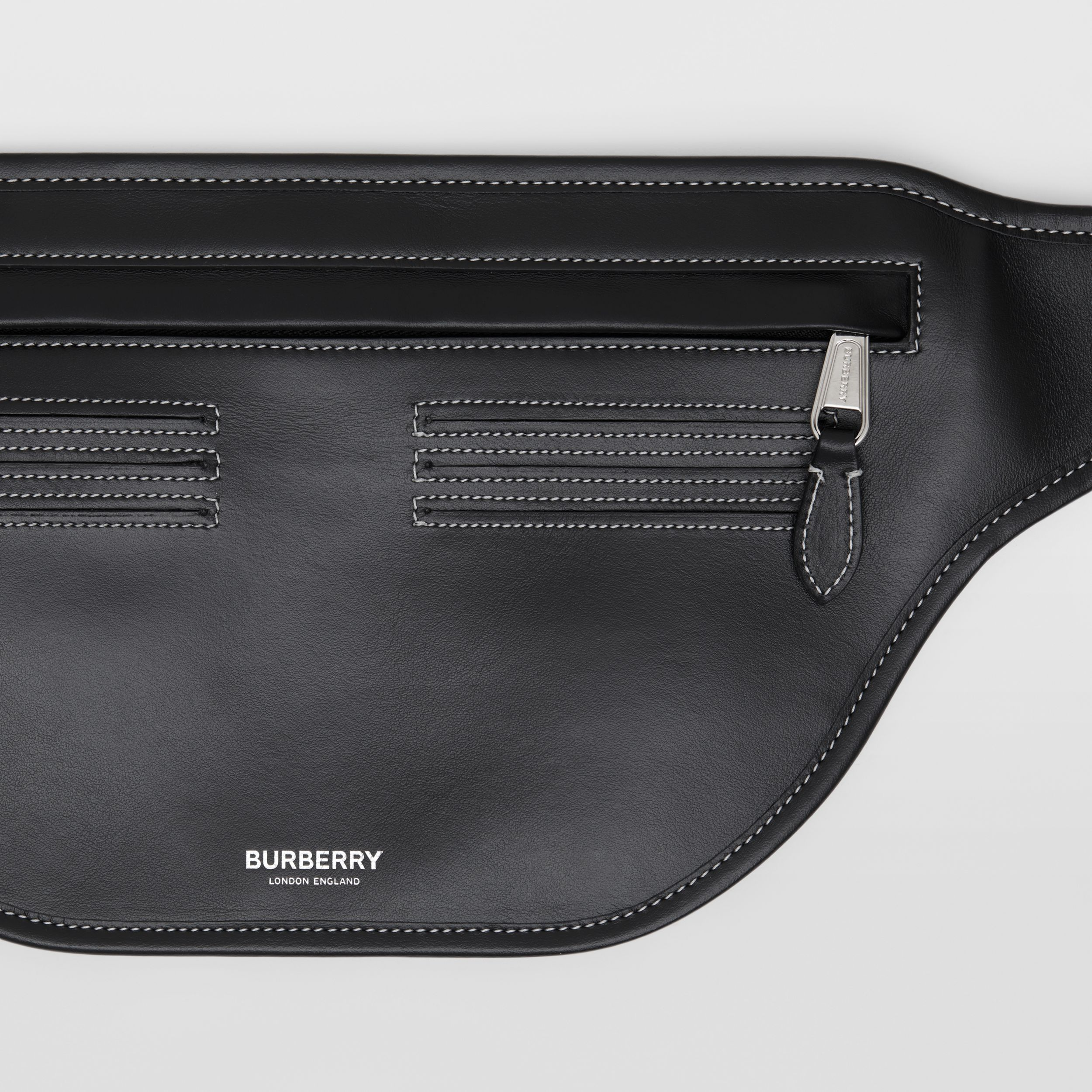 Topstitched Leather Brummell Bum Bag in Black | Burberry - 2