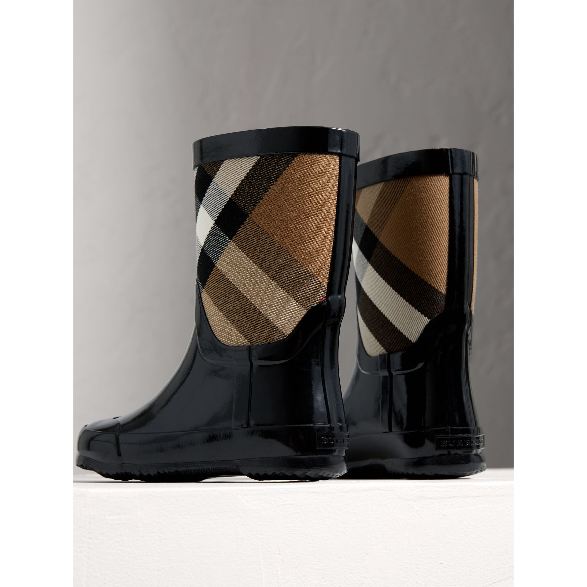 House Check Panel Rain Boots in Black | Burberry Singapore - gallery image 2