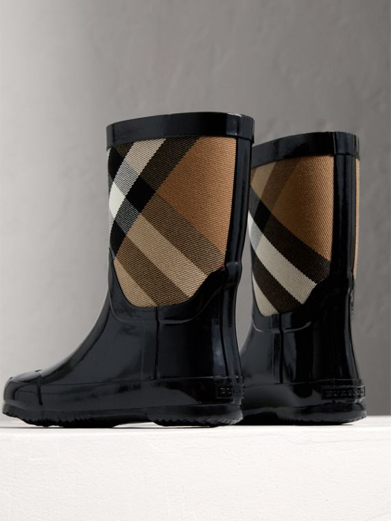 House Check Panel Rain Boots in Black | Burberry Singapore - cell image 2