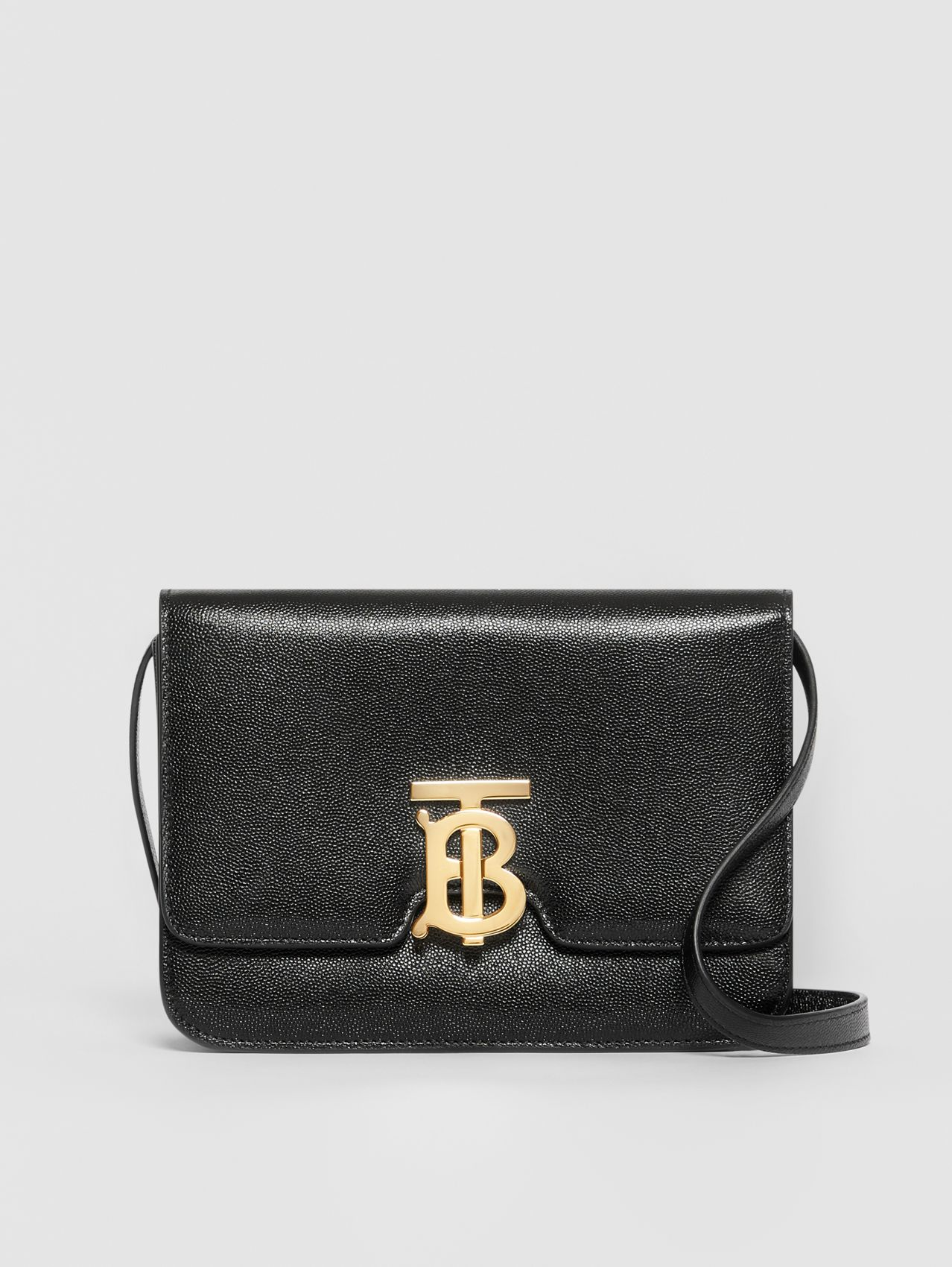 Small Grainy Leather TB Bag in Black