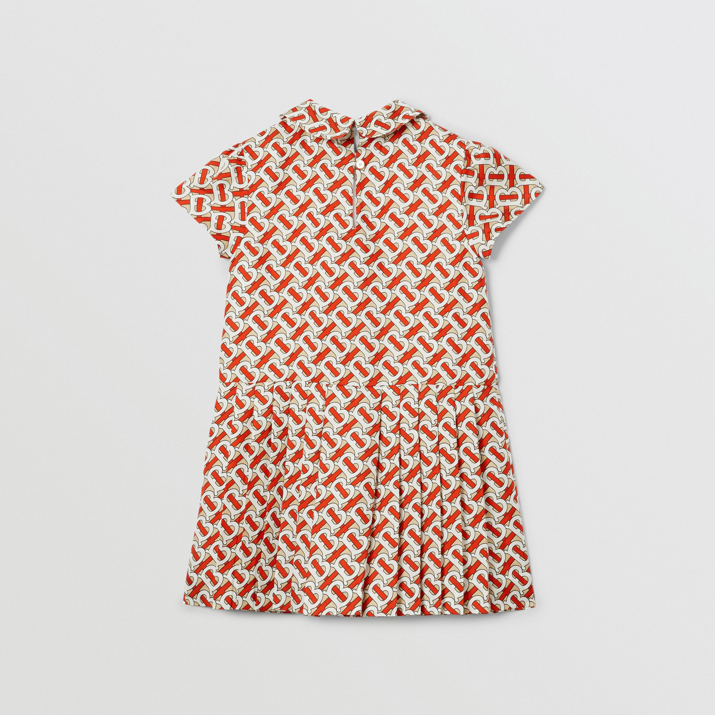 Peter Pan Collar Monogram Print Silk Dress in Vermilion Red | Burberry - 4