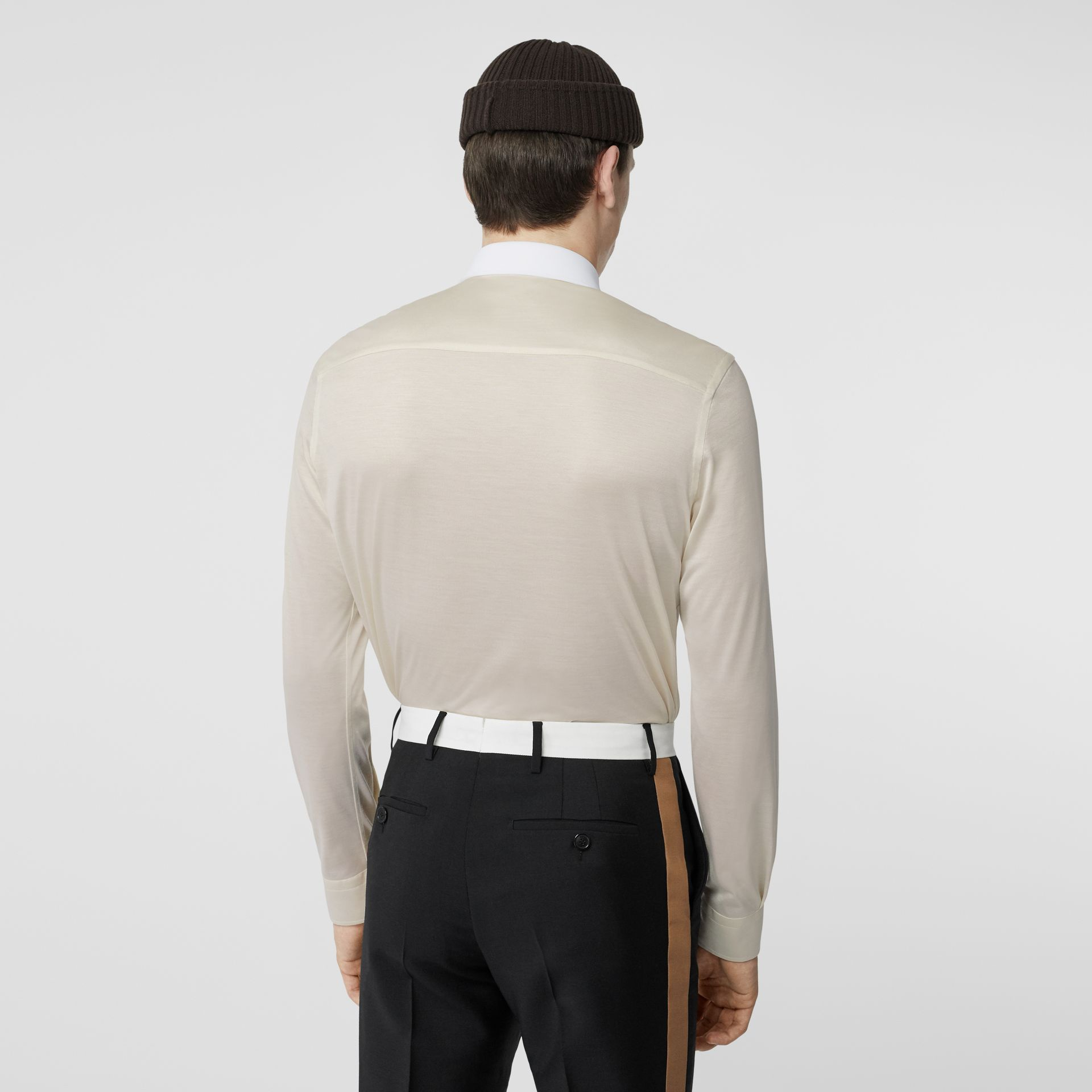 Classic Fit Neoprene Bib Silk Jersey Shirt in Natural White - Men | Burberry - gallery image 2