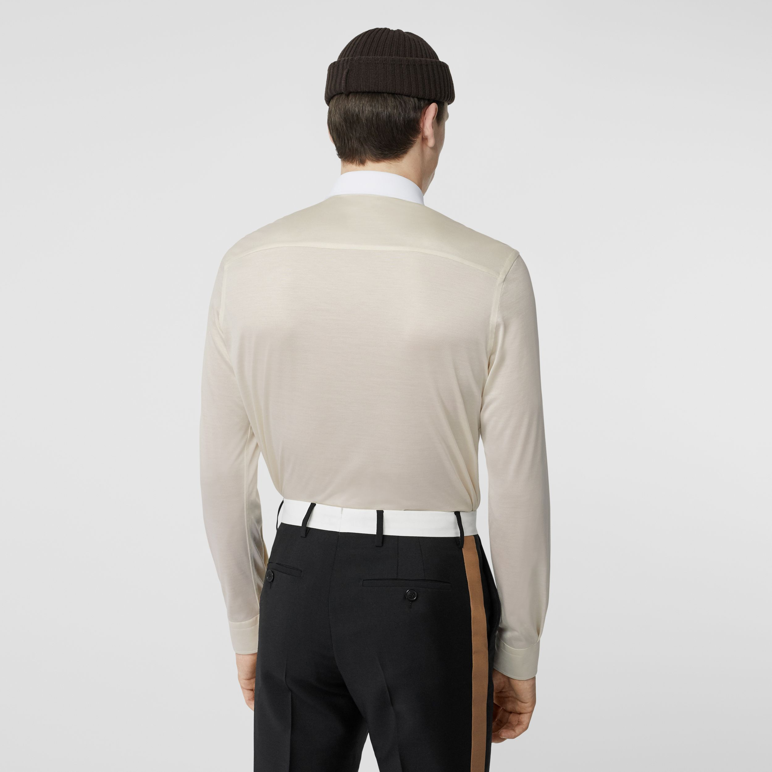 Classic Fit Neoprene Bib Silk Jersey Shirt in Natural White - Men | Burberry - 3