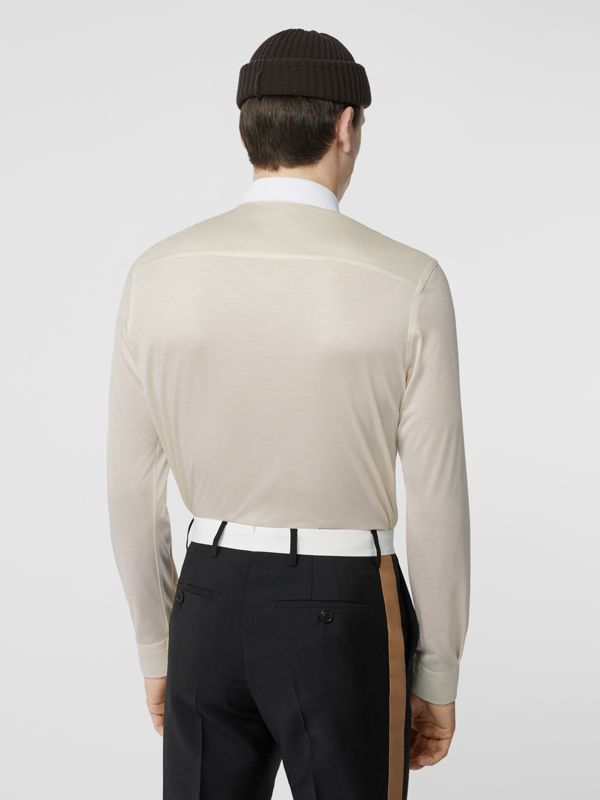 Classic Fit Neoprene Bib Silk Jersey Shirt in Natural White - Men | Burberry - cell image 2