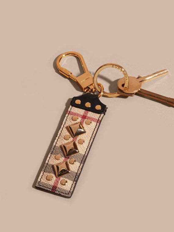 Riveted Leather Horseferry Check Key Charm