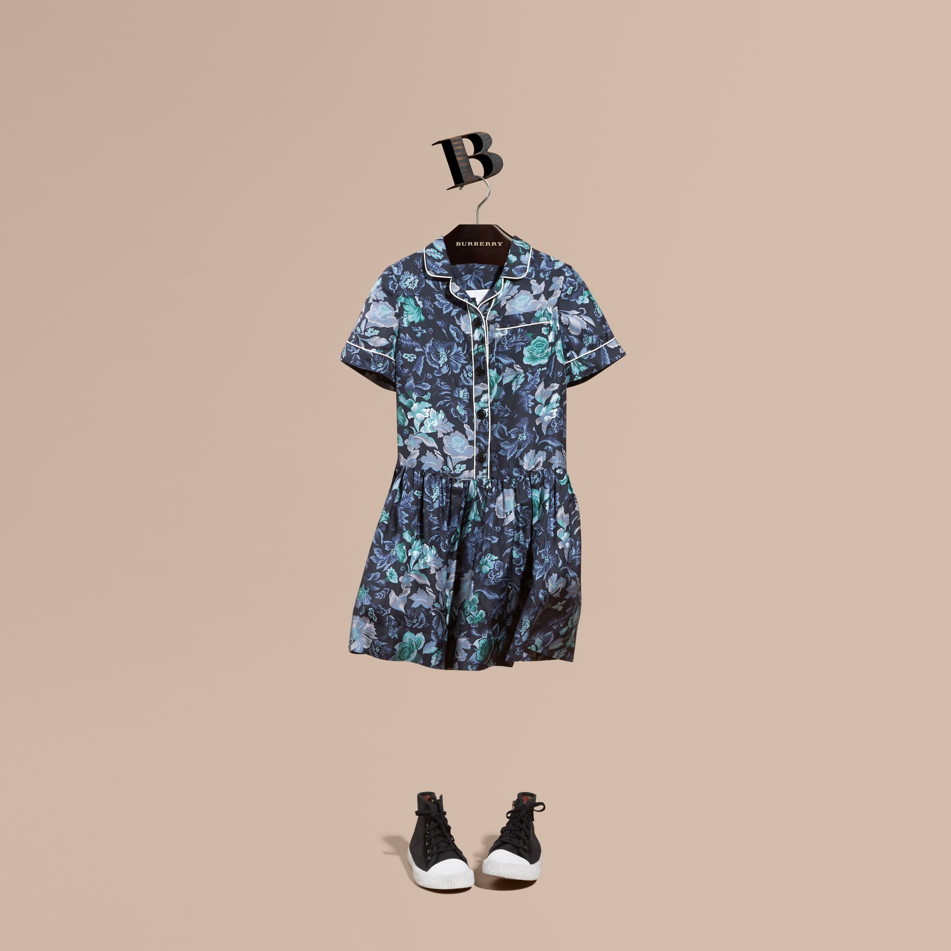 Garden Floral Print Silk Shirt Dress - gallery image 1