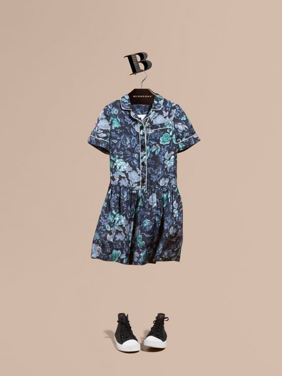 Garden Floral Print Silk Shirt Dress